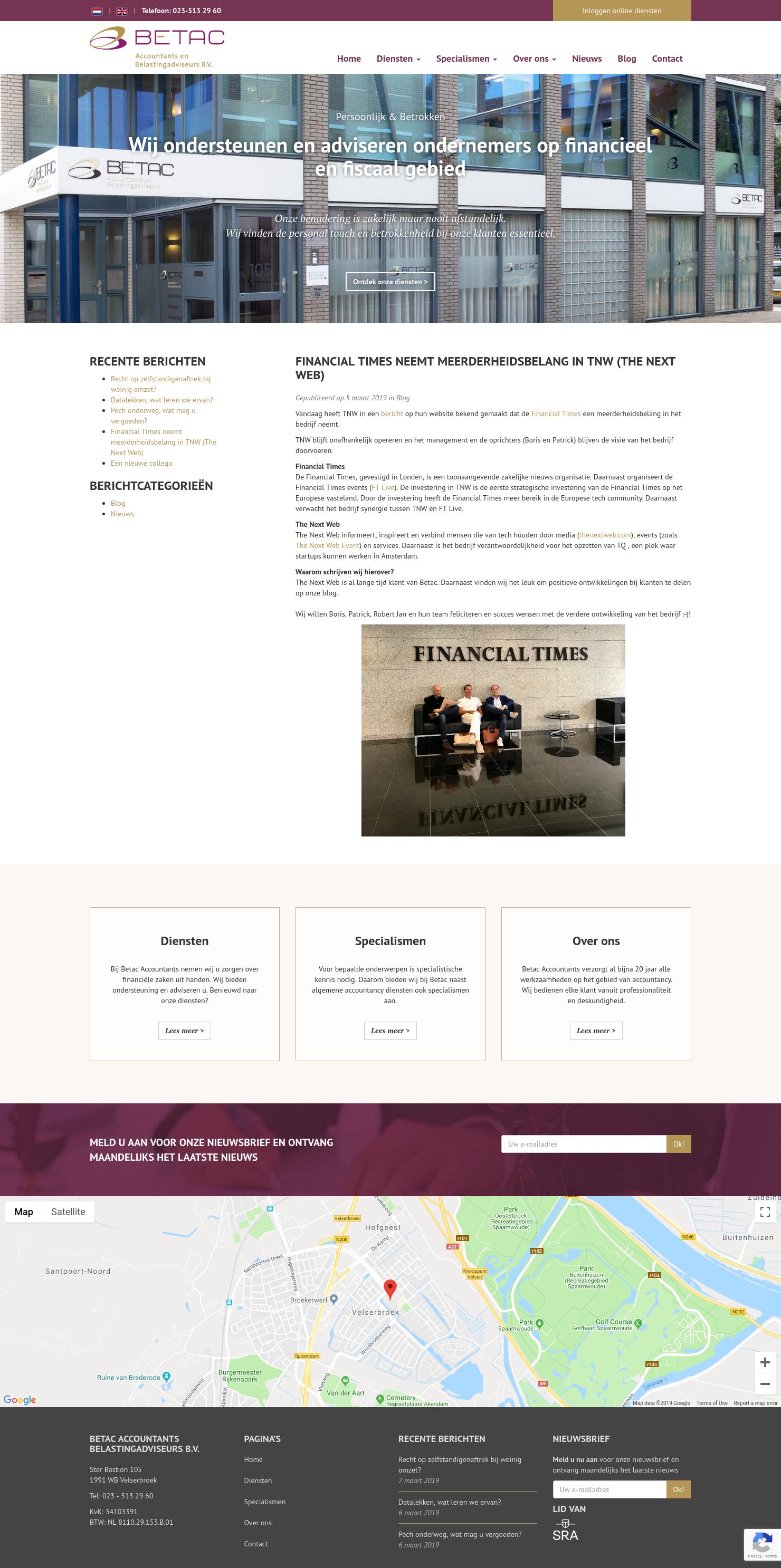 FINANCIAL TIMES NEEMT MEERDERHEIDSBELANG IN TNW (THE NEXT WEB
