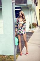 83255 floral print blazer 25euro  floral print shorts 13euro  ruffle bandeau bikini 10euro  bag 14euro  sunglasses 3euro  peep toe wedges 17euro medium 1365627805