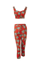 83264 red printed crop bustier 11euro capri trousers 17euro medium 1331555446