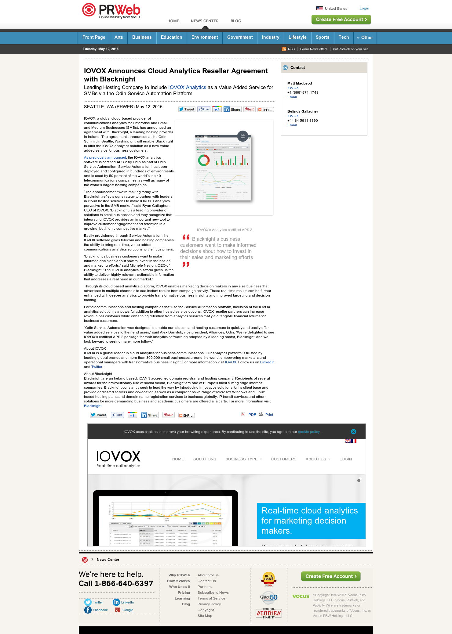 Iovox Announces Cloud Analytics Reseller Agreement With Blacknight