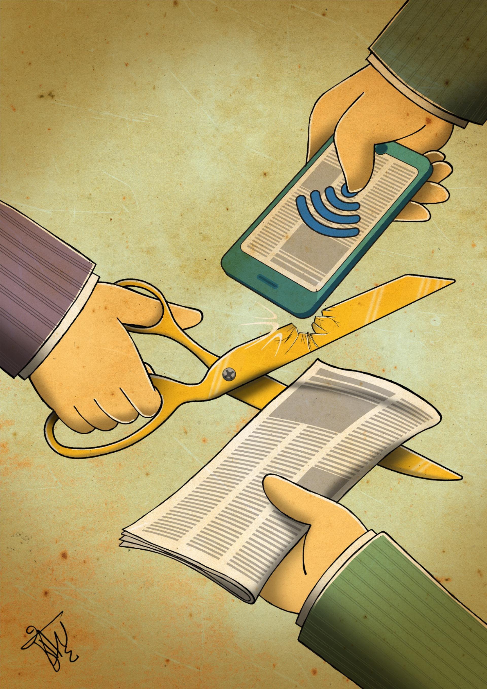 'Rock, Paper, Scissors', door Keyvan Varesi (Iran), winnaar van de World Press Freedom Cartoon Competition.jpg