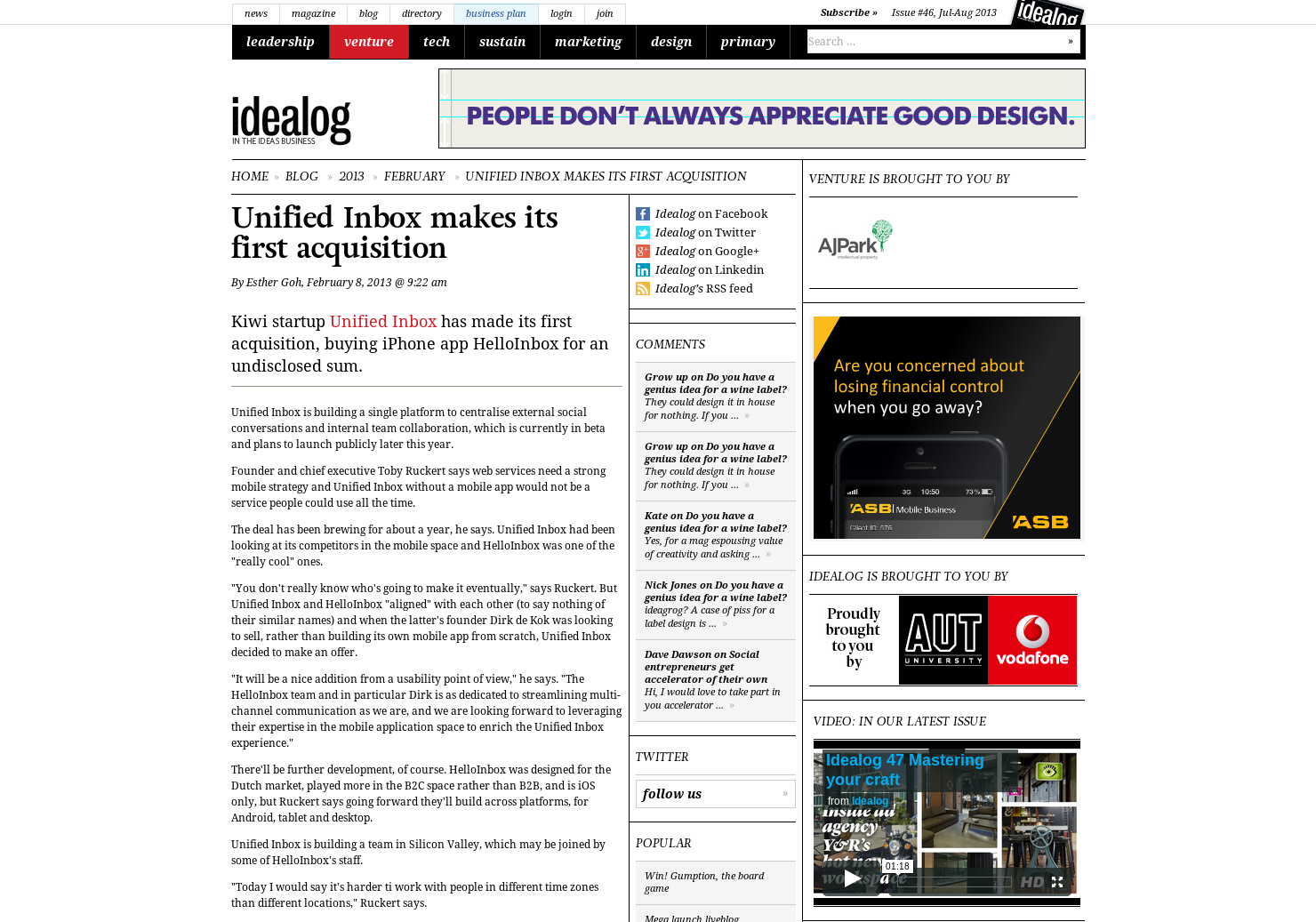 Unified Inbox makes its first acquisition :: Idealog :: the magazine ...