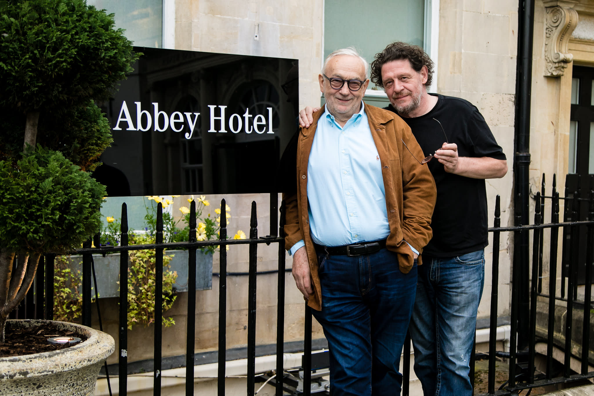 Marco Pierre White and his mentor, Pierre Koffmann, celebrate the signing of the new Koffman & Mr White's English French brasserie restaurant at the Abbey Hotel, Bath.jpg