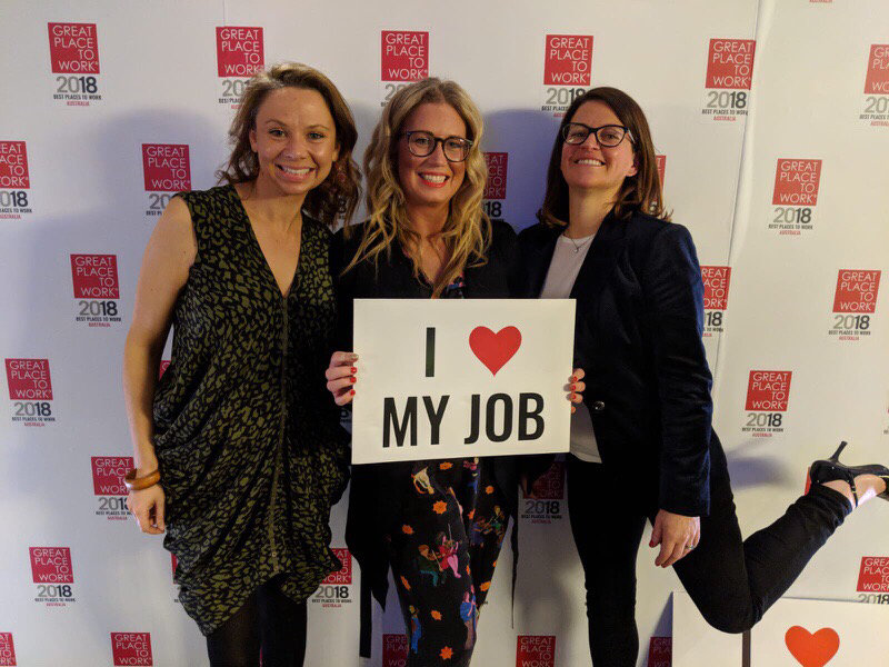 Members of Envato's People Team celebrate at the GPTW awards night
