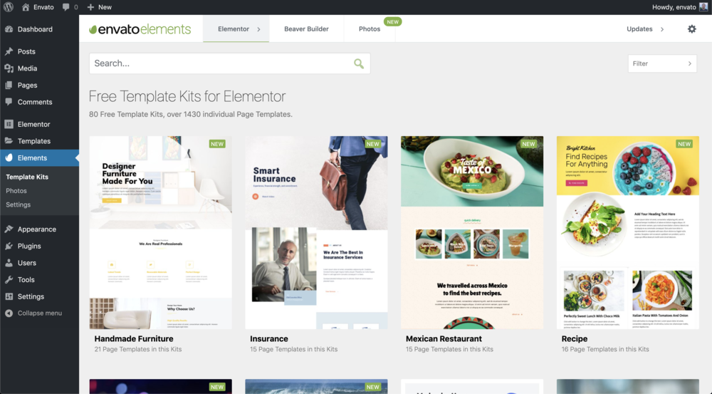 Envato Elements WordPress plugin