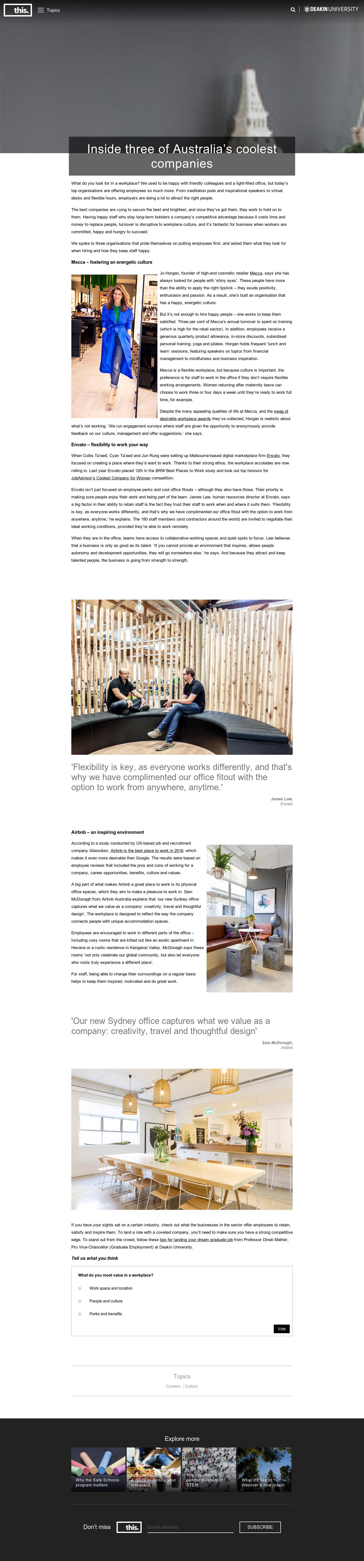 Inside three of Australia's coolest companies - This (Deakin University)