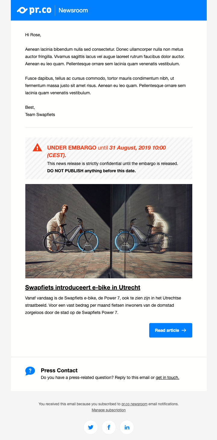 Branded distribution email template example