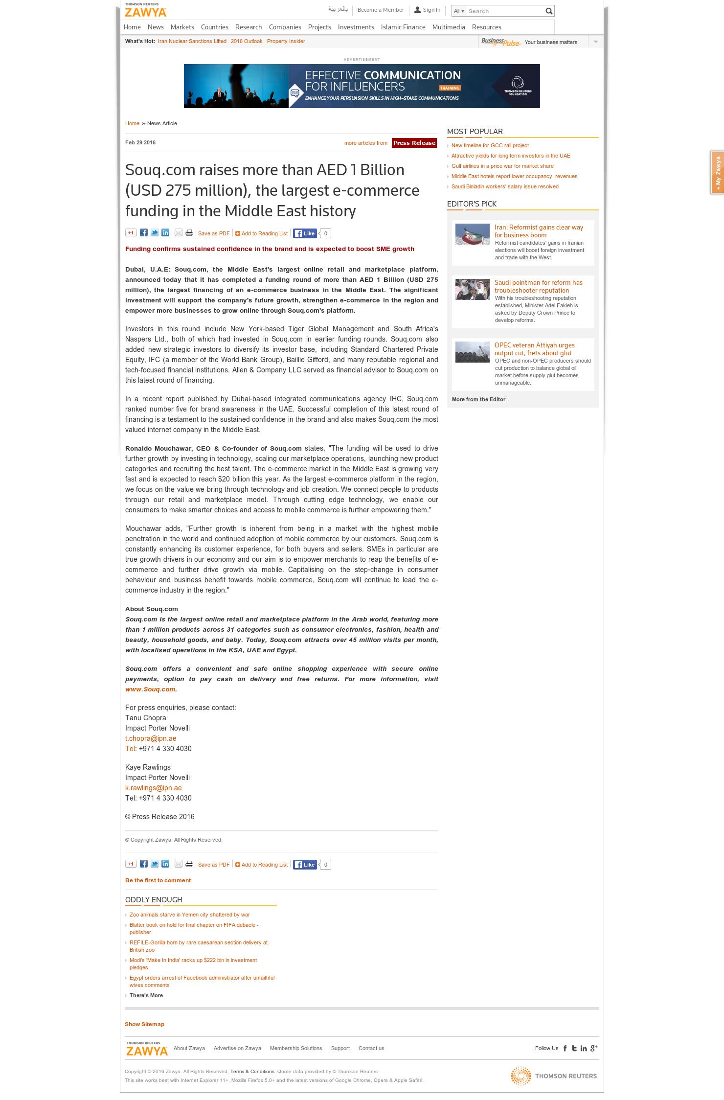 Souq com raises more than AED 1 Billion (USD 275 million