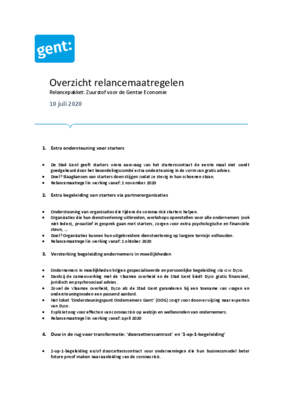 Lees hier alle economische relancemaatregelen van de Stad Gent