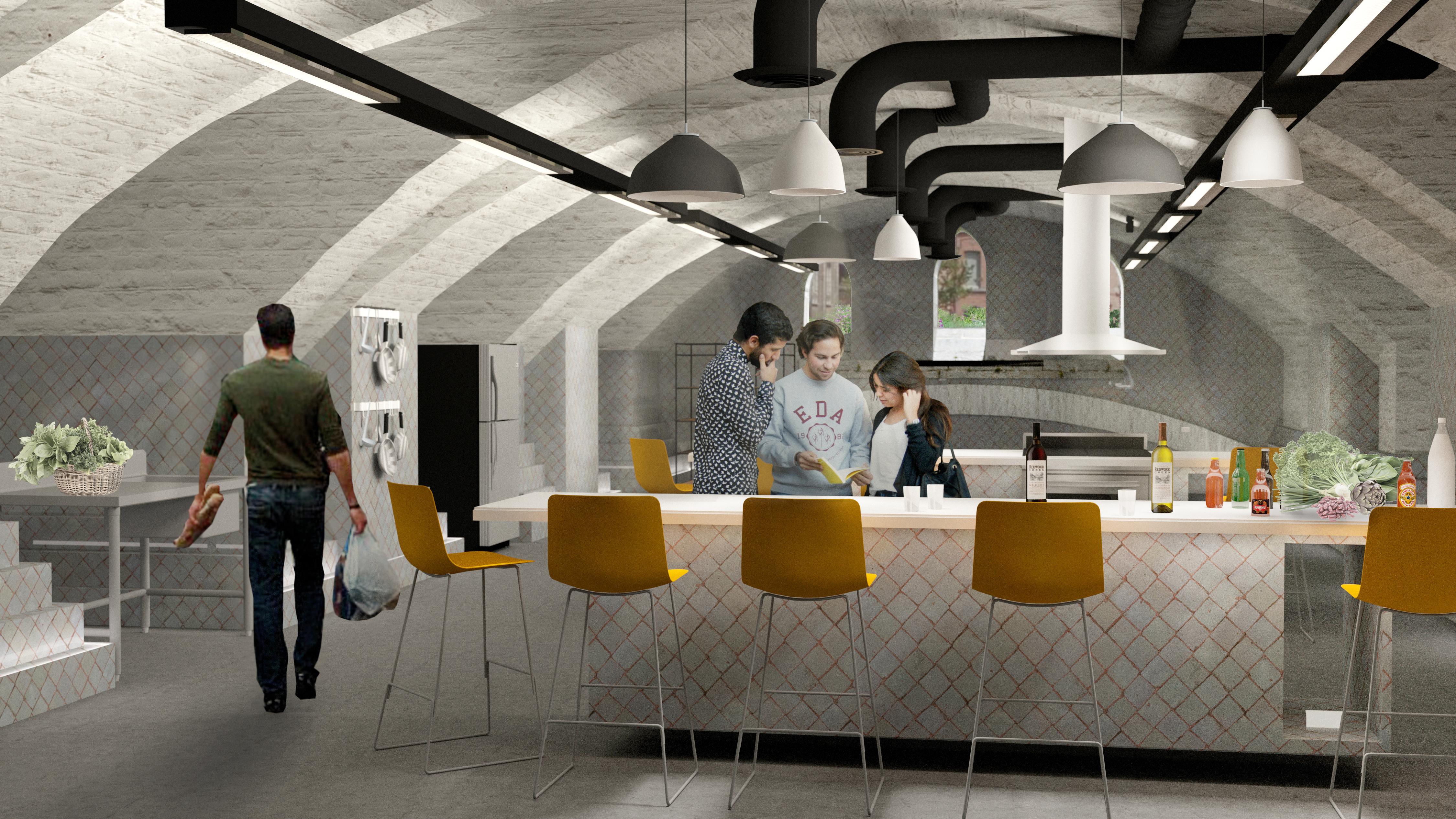 Een voorlopig idee voor de invulling van een van de ateliers: een keuken. © Dial Architects