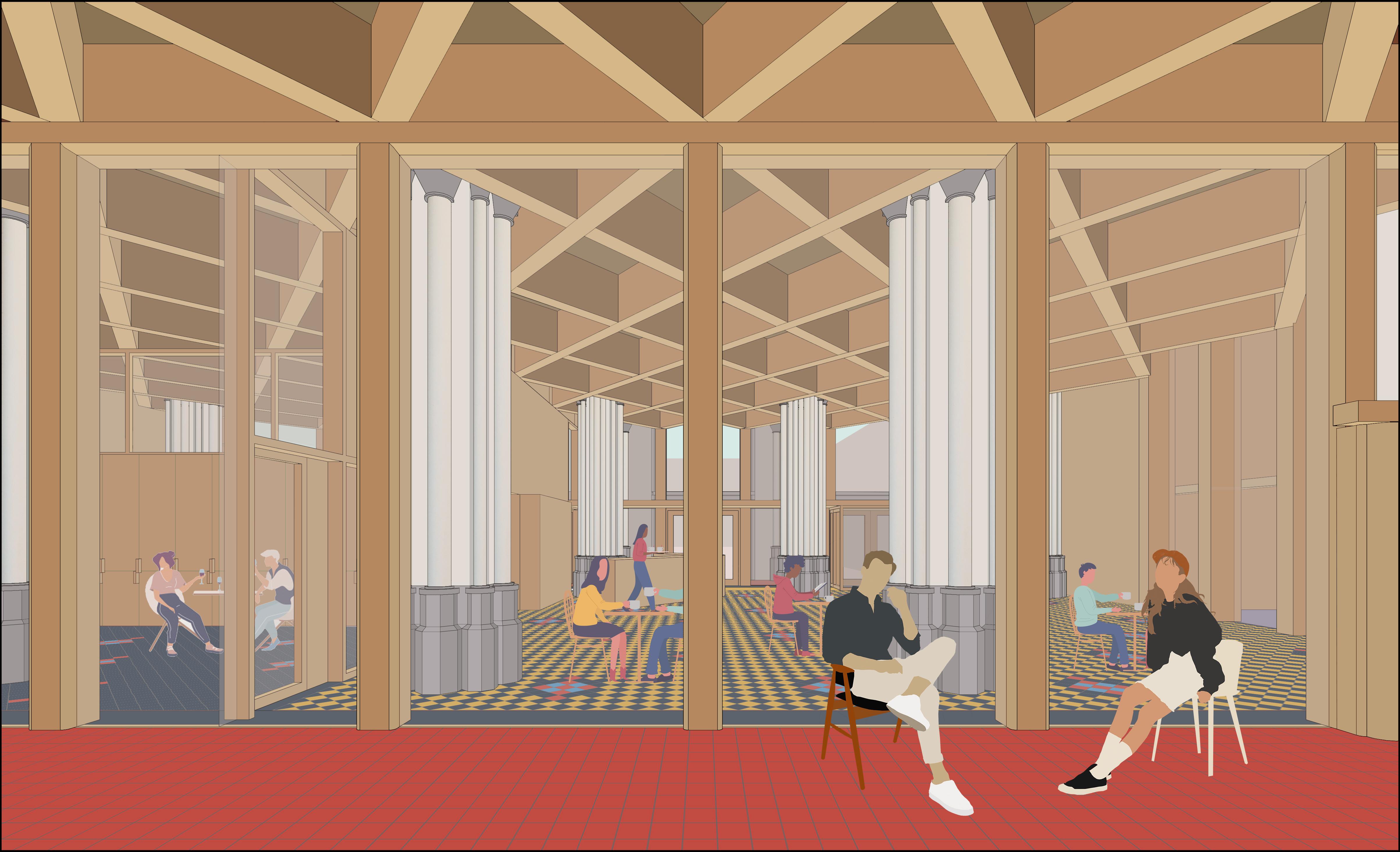 Een toekomstbeeld van het buurtrestaurant op het gelijkvloers. © De Smet - Vermeulen Architecten