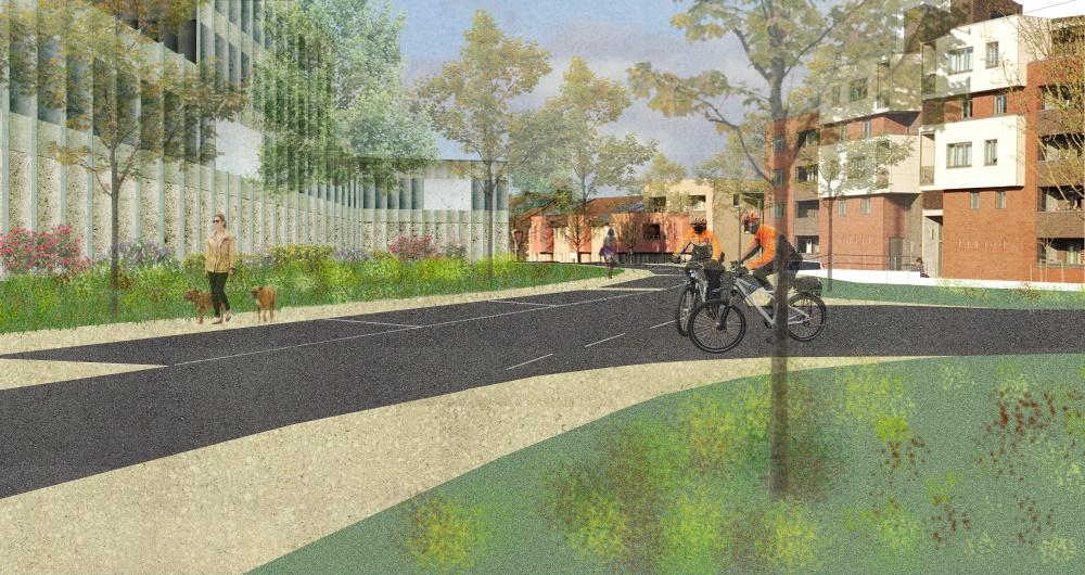 Mogelijk toekomstbeeld vanuit de Virginiastraat met aan de linkerzijde het gebouw van de lokale politie.