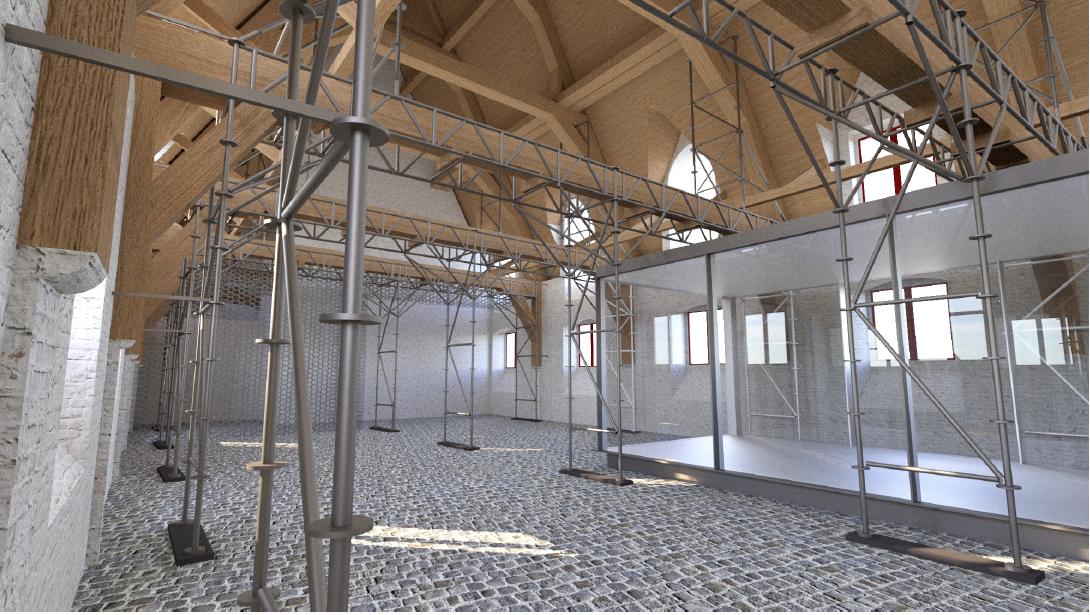 Zo zal de tijdelijke metalen steunstructuur eruitzien. © Bressers Erfgoed i.s.m. Studiebureau Riessauw.