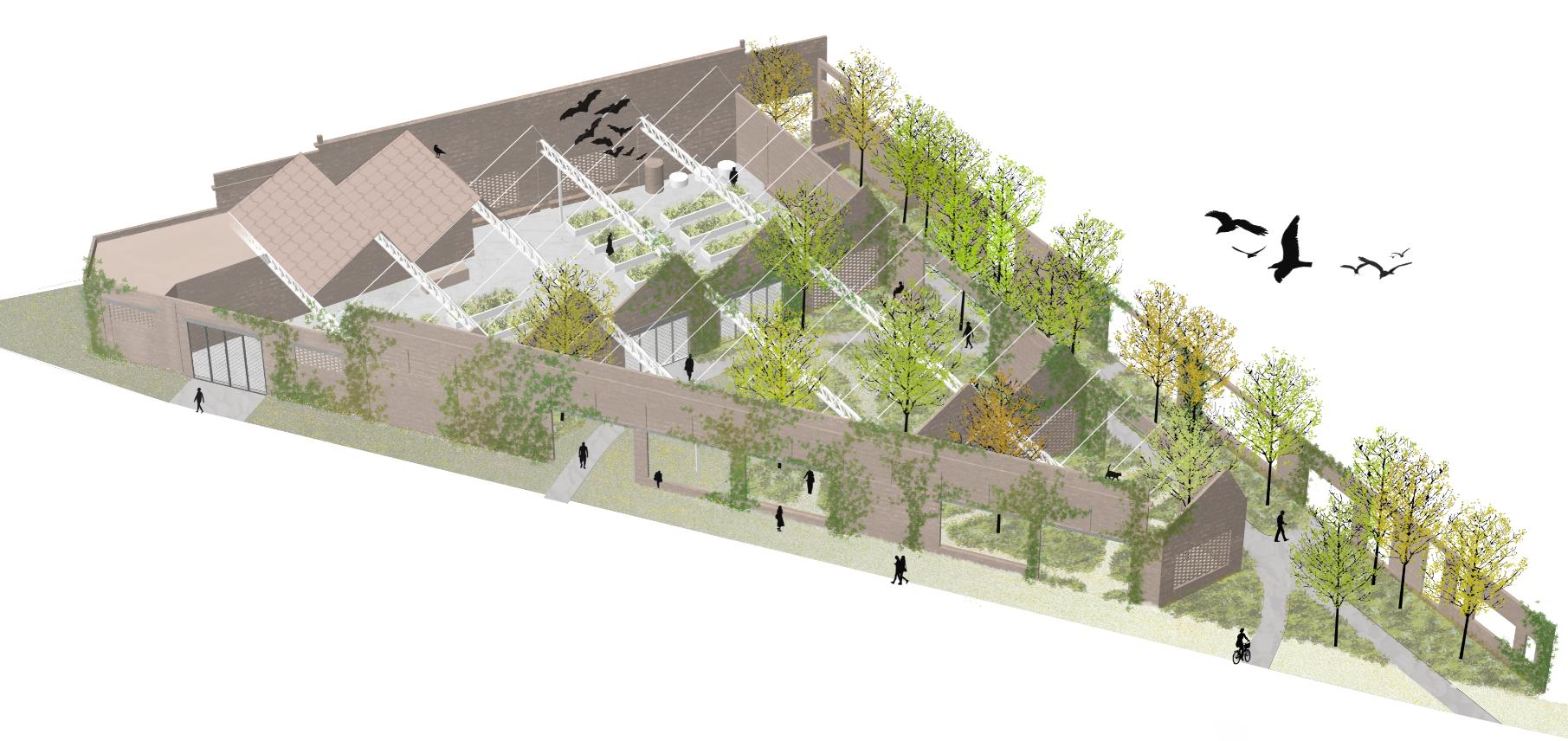 Een toekomstbeeld van hoe het extra stuk park er zal uitzien.