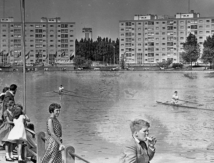 Roeiers op de Watersportbaan in de jaren 60. © Archief Gent - Henri De Jonghe