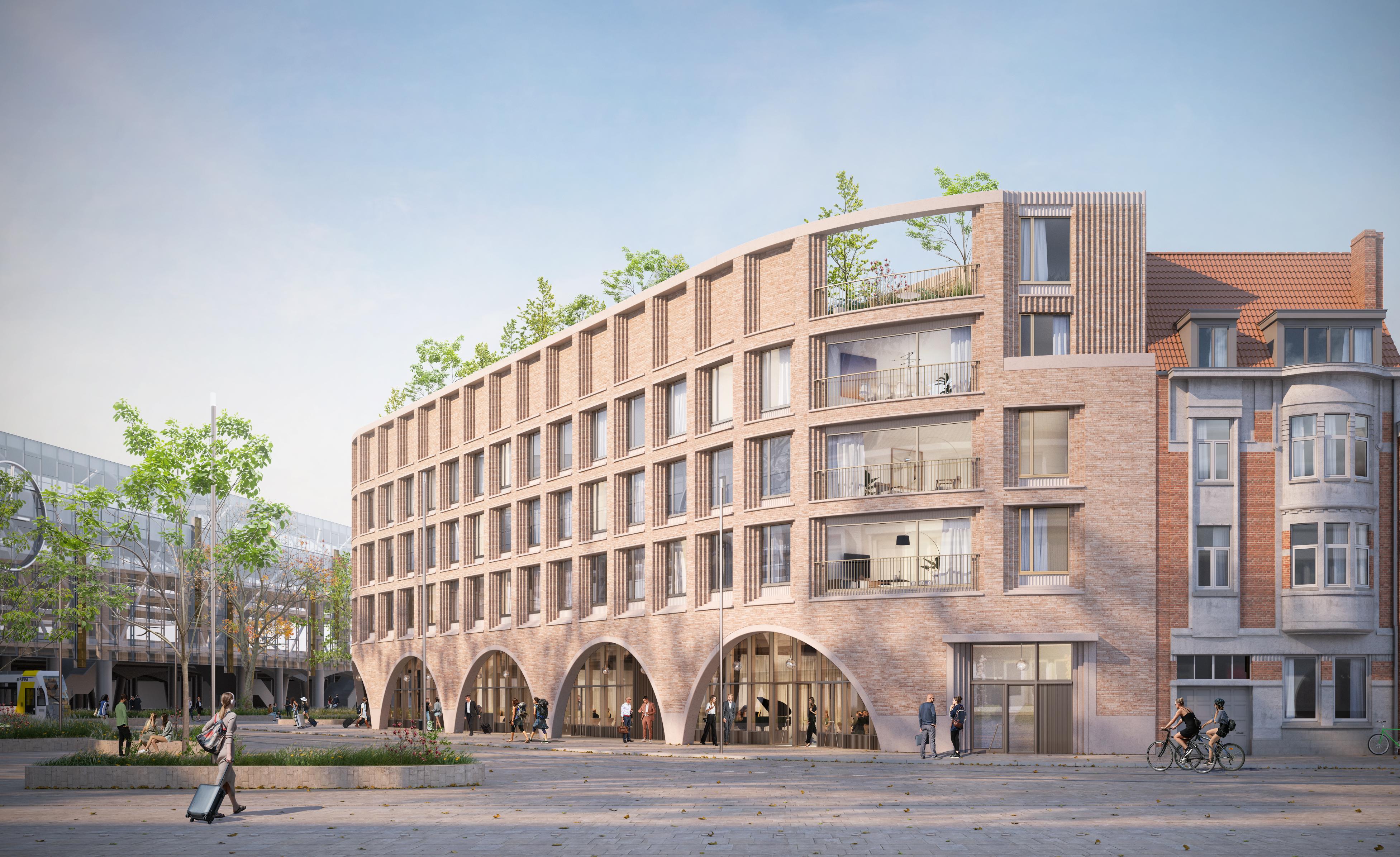 Een toekomstbeeld van het S-vormige gebouw op het Koningin Mathildeplein. © 360-architecten