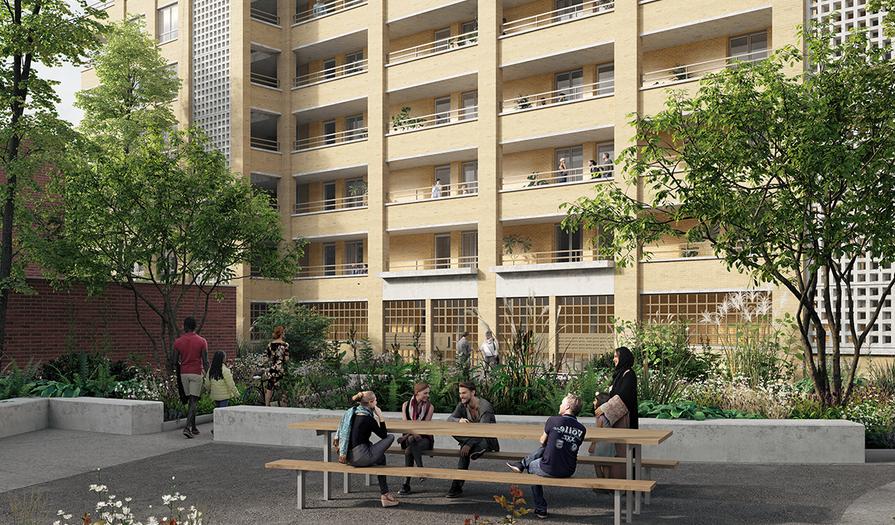 Een toekomstbeeld van het 'parkgebouw' in Nieuw Gent.
