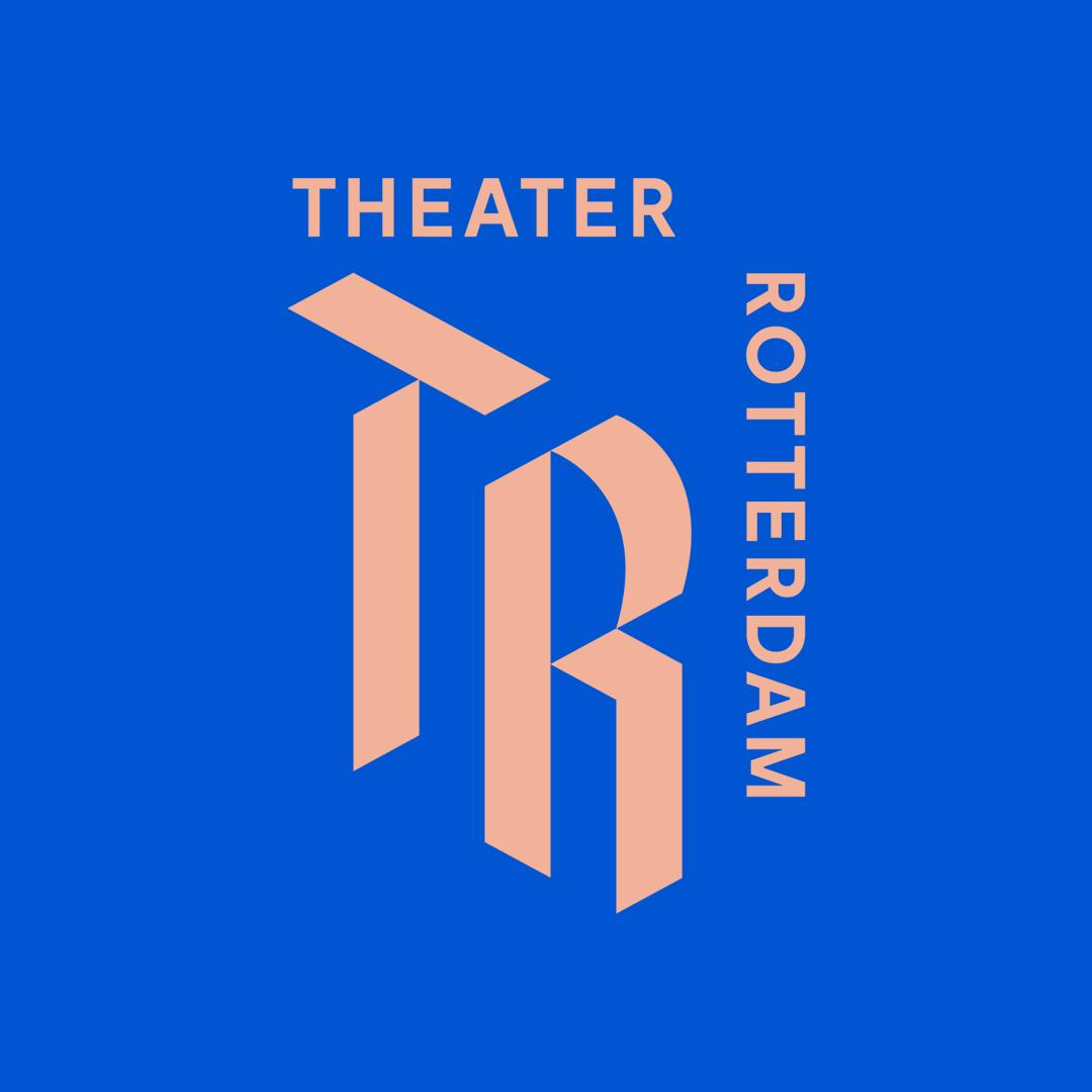 Tr logo roze op blauw