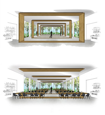 Impression of the restaurant design by Concrete