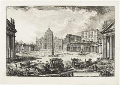 Giovanni Battista Piranesi, Gezicht op het Sint-Pietersplein te Rome, circa 1771-1773, Aankoop met steun van: Stichting Lucas van Leyden 1956, collectie Museum Boijmans Van Beuningen.