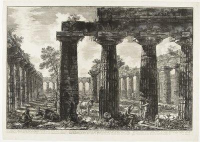 Giovanni Battista Piranesi, Gezicht op de Eerste Tempel van Hera in Paestum, 1778 , legaat: Dr. J.C.J. Bierens de Haan 1951, collectie Museum Boijmans Van Beuningen.