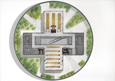 Tekening van het bovenaanzicht van de zesde verdieping Depot Boijmans Van Beuningen. Beeld: Concrete