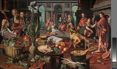 Werk uit Collectie Museum Boijmans Van Beuningen. Pieter Aertsen, Christus in het huis van Martha en Maria, 1553. Creditline fotograaf: Studie Tromp