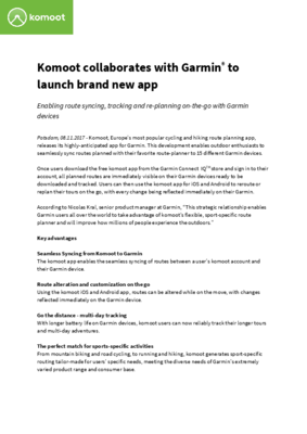New Komoot app for Garmin Press Release