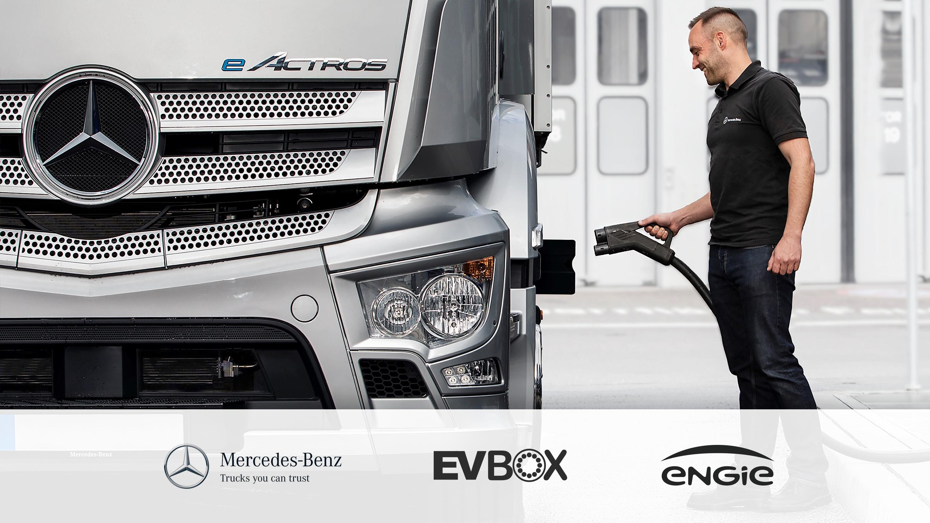 Mercedes-Benz Truck charged by EVBox Troniq Modular