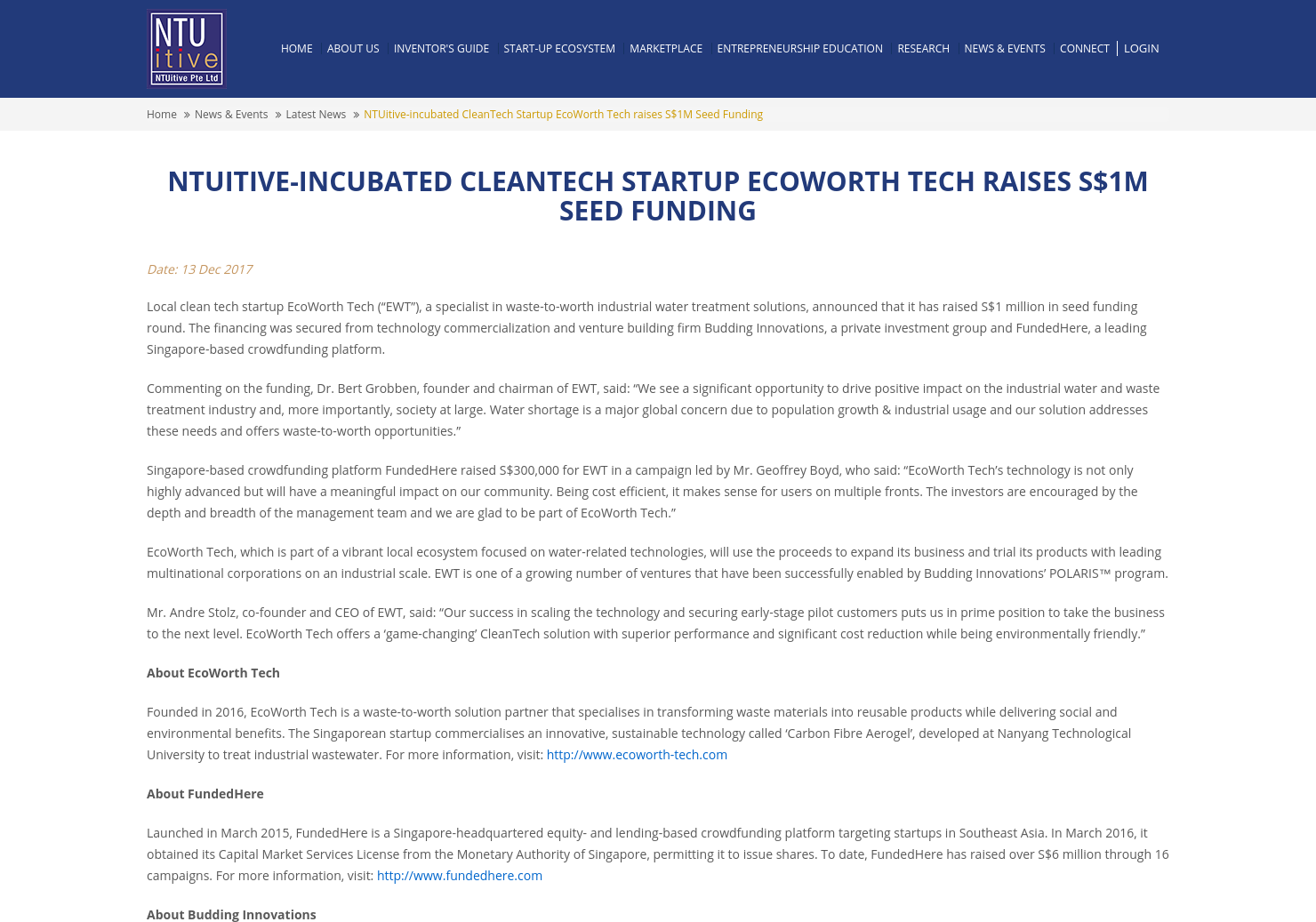 NTUITIVE-Incubated CleanTech Startup EcoWorth Tech Raises S