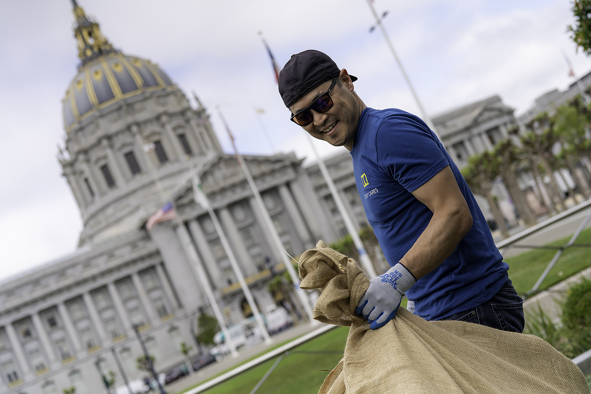 Gardening at SF Civic Center Park at 2019 Dolby Cares Day