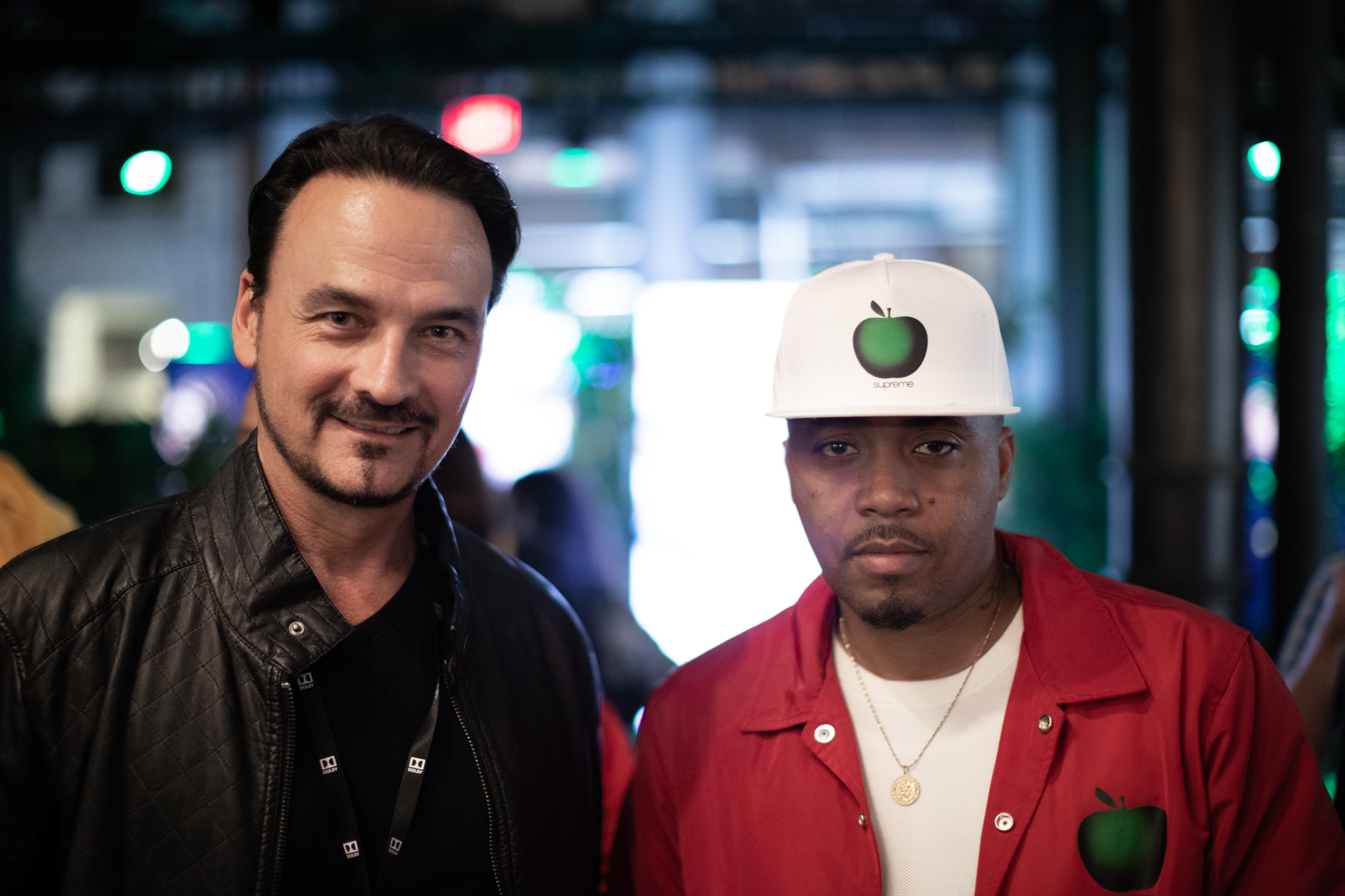 Dolby's VP of Design Vince Voron with Nas at Wu-Tang Clan Tribute Opening at Dolby Soho