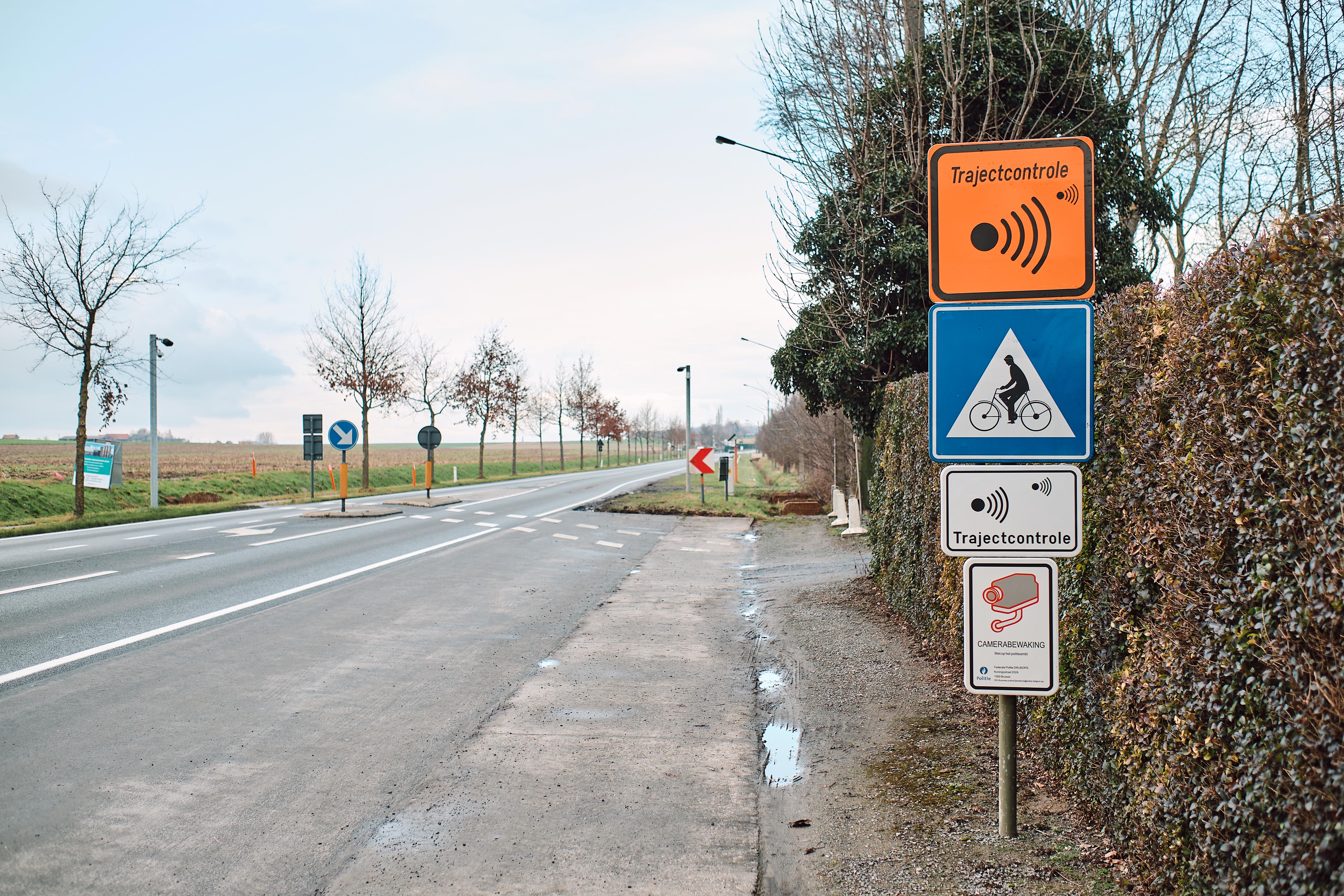 Trajectcontrole N50 Doornikserijksweg Bellegem (copyright: Kortrijk)