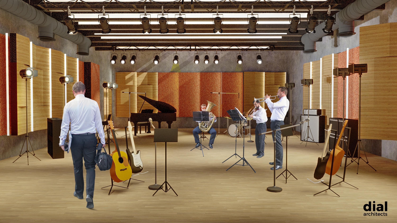 Muziekcentrum Track sfeerbeeld repetitieruimte orkesten (voorontwerp DialArchitecten)