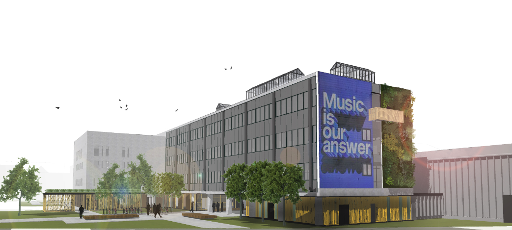 Muziekcentrum kopgevel (voorontwerp Dial Architecten)