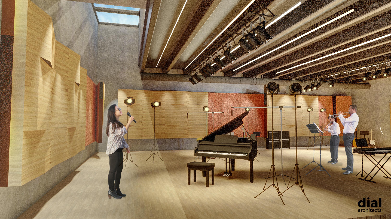 Muziekcentrum Track sfeerbeeld (voorontwerp repetitieruimte orkesten - DialArchitecten)