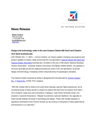 News Release - Textron Aviation announces Cessna Citation M2 and XLS Gen2