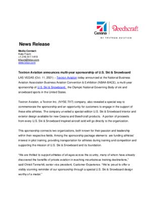 News Release - U.S. Ski and Snowboard Sponsorship