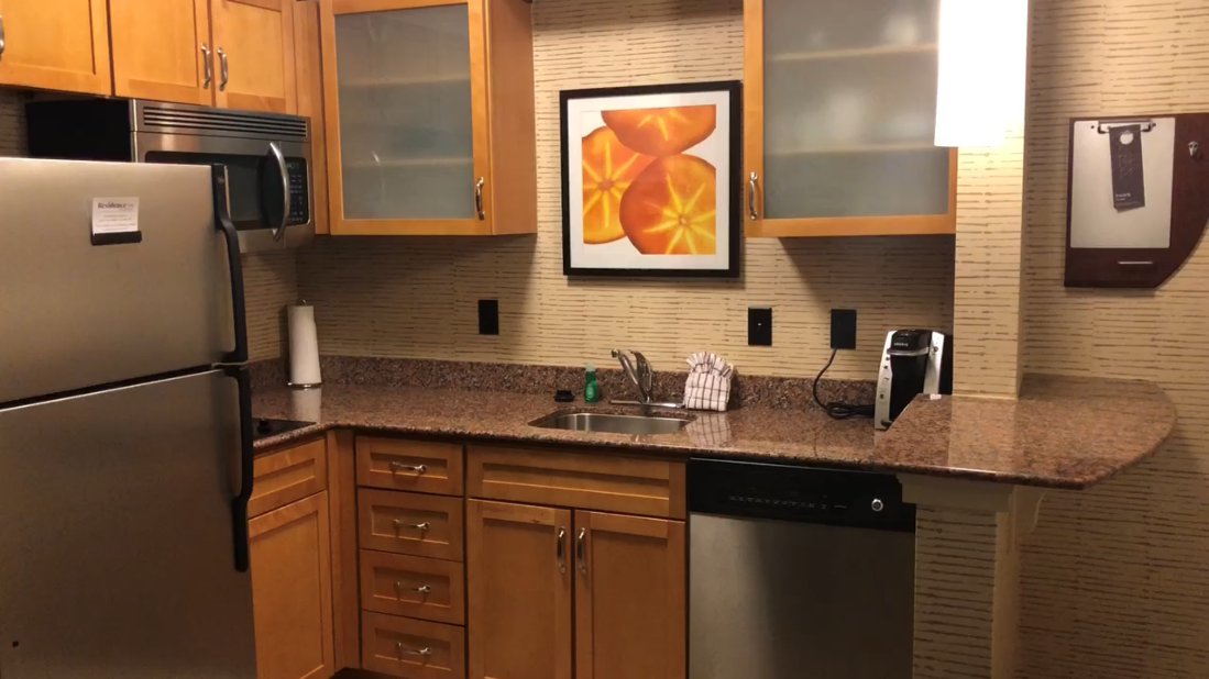 My hotel room with a full kitchenette made meals much faster and easier.