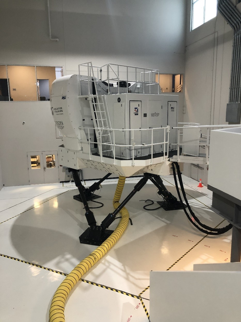 The full-motion simulators are technologically advanced and designed to  move in a way that feels like flying a real aircraft.