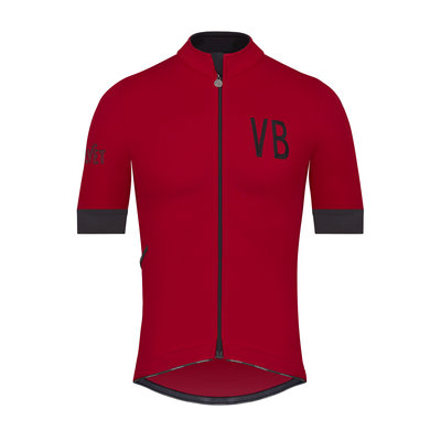 Velobici-Velvet-Red-Thermal-Short-Sleeve-Cycling-Jersey-Front