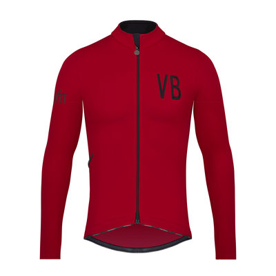 Velobici-Velvet-Red-Thermal-cycling-Jersey-Front