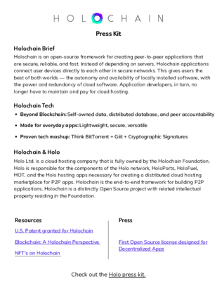 Holochain Press Kit
