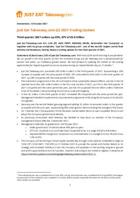 13-10-2021 Press release - Just Eat Takeaway.com Q3 2021 Trading Update.pdf